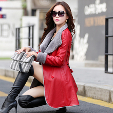 European women leather fur windbreaker long fur collar female down cotton imitation sheep leather fur coat Cuero abrigo de piel недорого