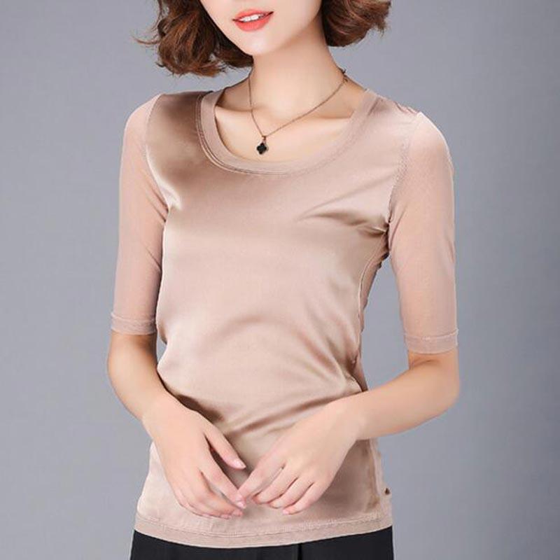 2017 venta caliente de malla blusa femenina más el tamaño delgado casual media m