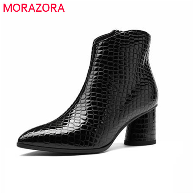 MORAZORA 2018 top quality patent leather boots women zipper pointed toe autumn winter ankle boots square high heels shoes womanMORAZORA 2018 top quality patent leather boots women zipper pointed toe autumn winter ankle boots square high heels shoes woman