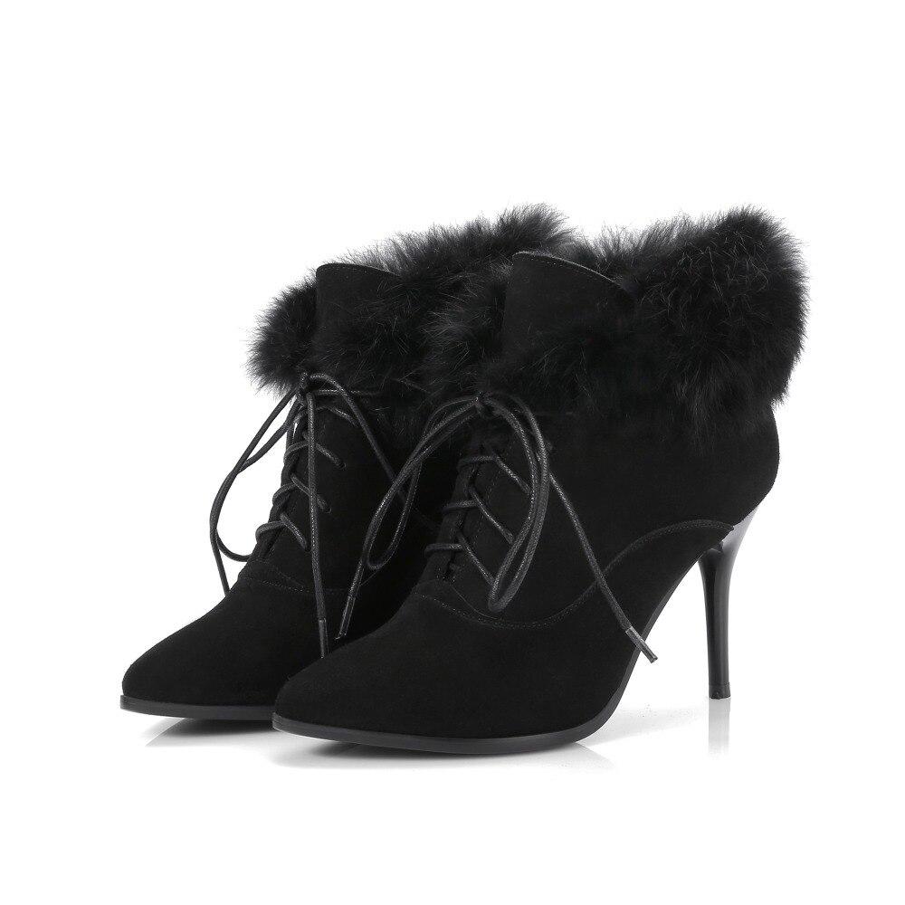 25c64d6d693 Dentelle Bottes Femmes Stilettos Cheville Croix 2019 Liée Talons Mode Bout  Élégant Nude Fourrure black Up De Chaussures Pointu ...