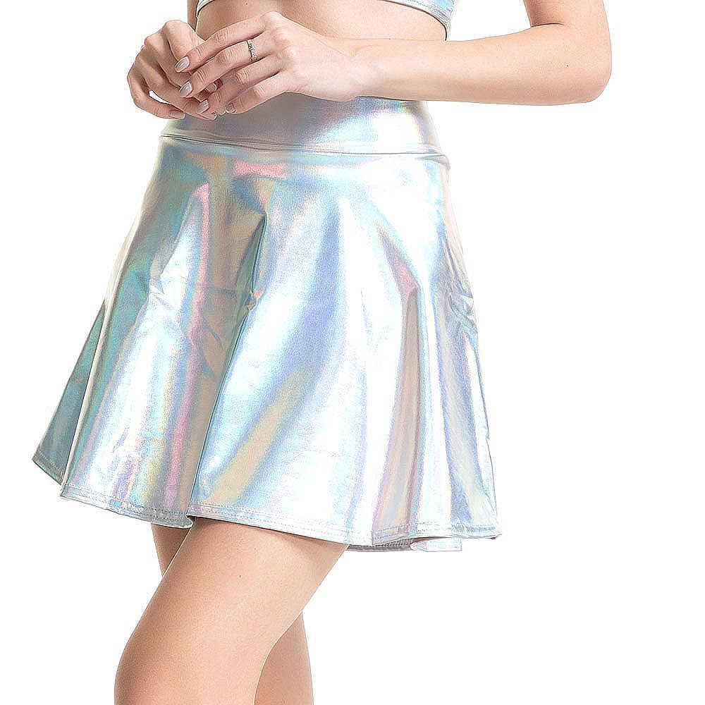 014b74d8c0 ... Fashion Sexy Women Slim PU Solid Skirt Harajuku Laser High Waist Short  Micro Mini Skirt Pleated ...