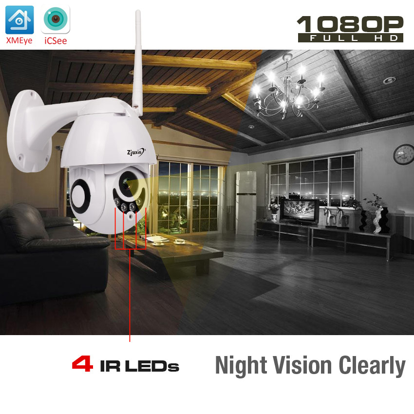 Zjuxin Camara IP WiFi 1080 p HD 2MP PTZ IR Onvif Sortie D'alarme Sans Fil Caméra accueil Nuit Surveillance Vision Sécurité smart ipcam