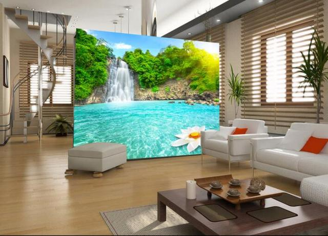 US $15 77 45% OFF|3d wallpaper custom mural non woven Wall stickers 3D sun  exposure to the lake of small waterfall 3d wall murals wall paper-in