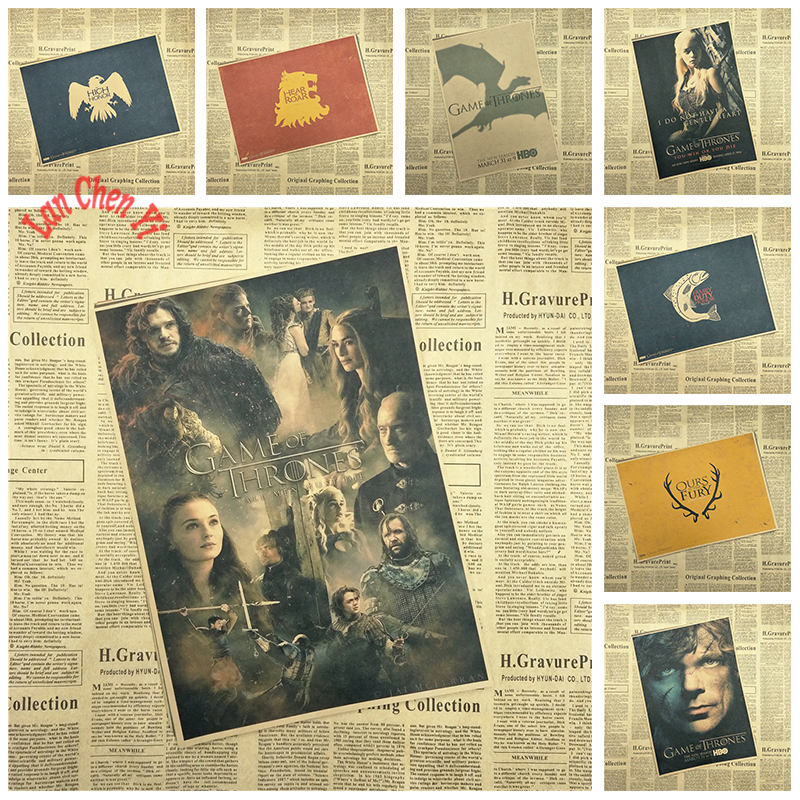 Game of Thrones Series 2 Classic TV play Kraft Paper Poster Cafe Creative wallpaper Interior Decoration Free Shipping