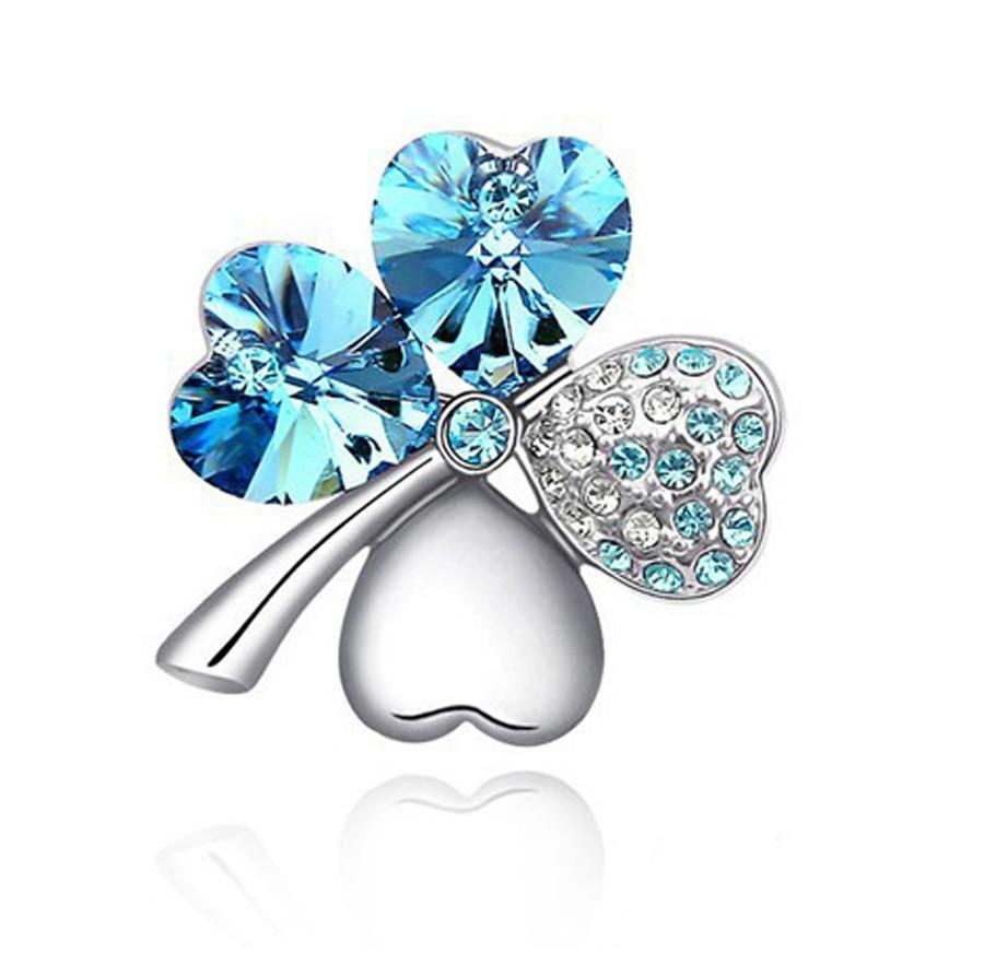 Austrian Crystal jewelry cute romantic pins fashion Four Leaf Clover rhinestone brooches for women accessories
