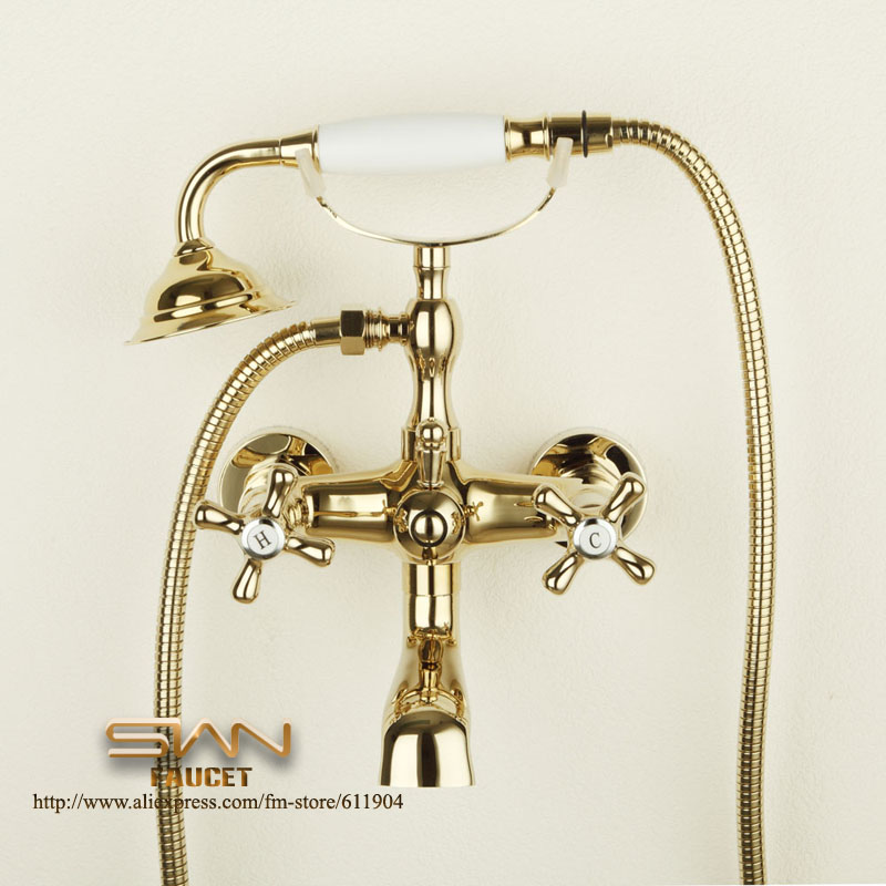 Luxury Gold Color Bathroom Clawfoot Bath Tub Faucet