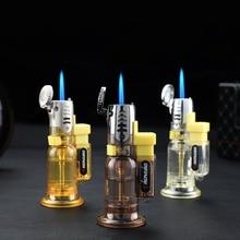 Mini Portable Windproof Cigarette Lighter Metal Gas Lighter Butane Torch Lighter Blue Flame No Gas Random Color все цены