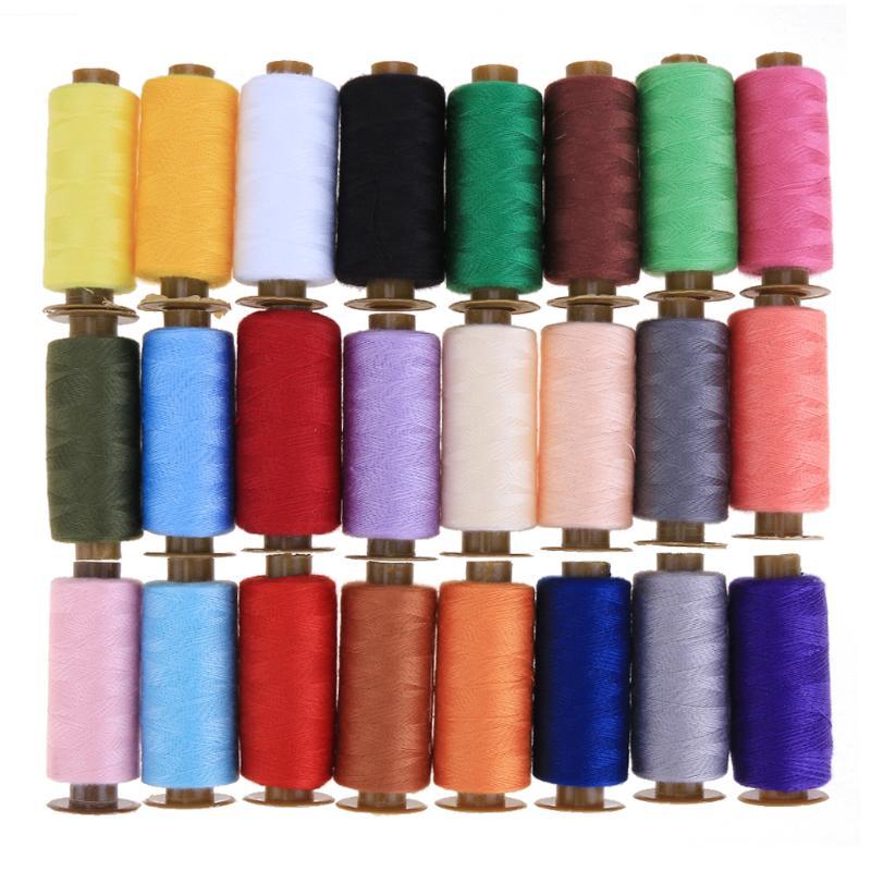 24 teile/satz 500 Yards Bunte Maschine Stickerei Gewinde Nähen Polyester Nähgarn Hand Handwerk Patch Lenkung-rad Liefert
