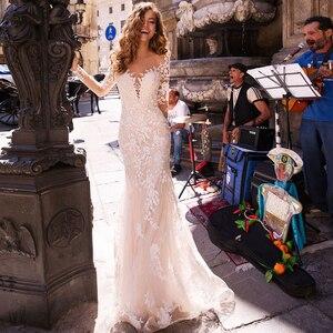 Image 3 - Long Sleeves Double Shoulder Appliqued Lace Wedding Dresses 2019 Mermaid/Trumpet Train Illusion bridal gown dress