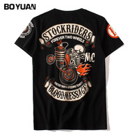 BOYUAN Hip Hop Skull Printed T Shirts Men T Shirt Brand Quality Summer Short Sleeve Cotton