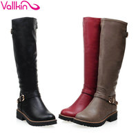 VALLKIN 2016 Winter Shoes Round Toe Fashion Women Knee High Boots PU Leather All Match Med