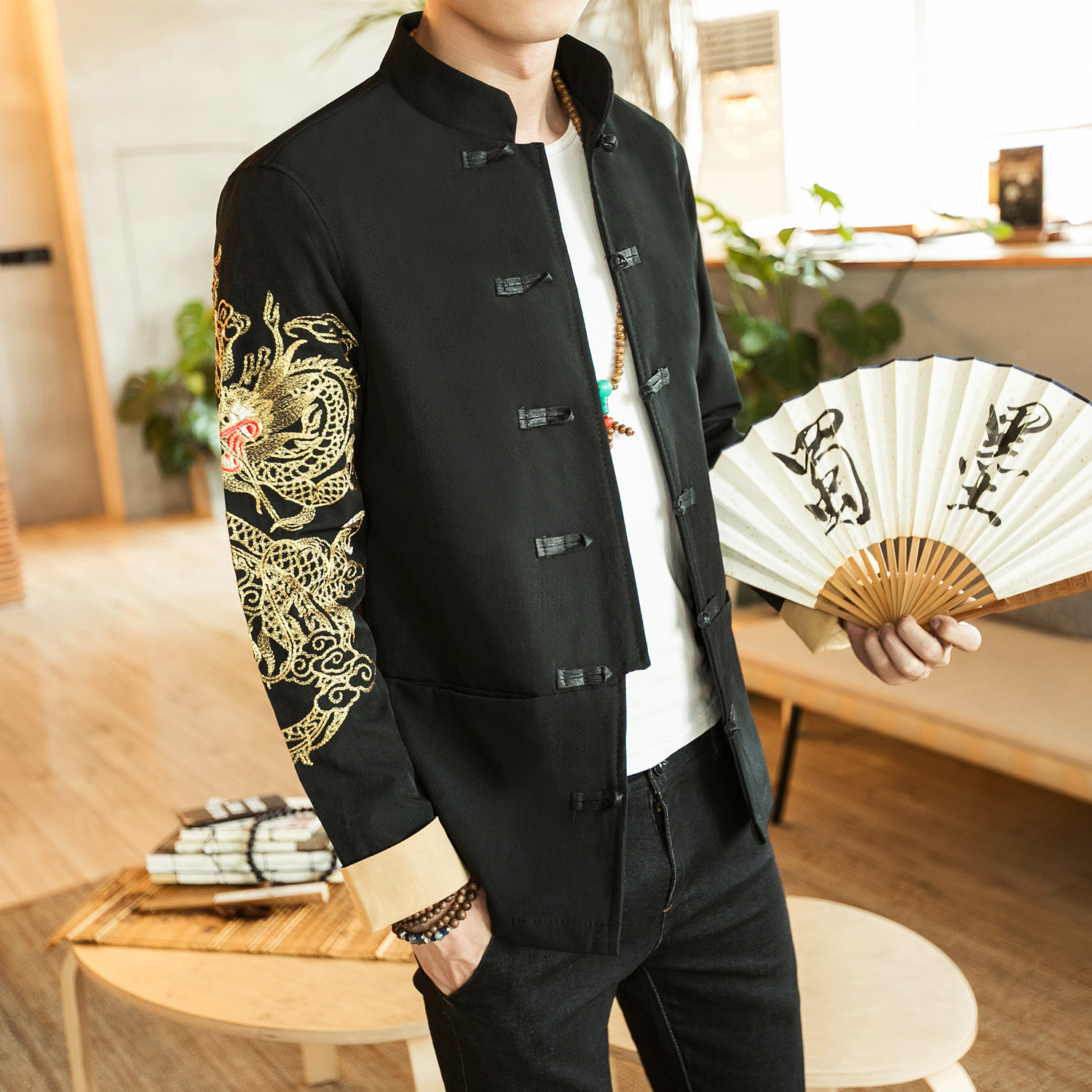 Loldeal hommes Costume Tang Costume brodé Dragon Bomber veste Tang Costume Cheongsam brodé Dragon Tang Costume Style chinois