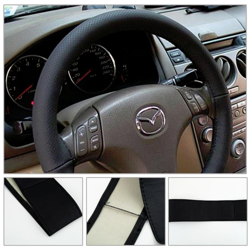 1pcs High Quality DIY Car Steering Wheel Black Cover With Needles and Thread Genuine Artificial leather car-styling