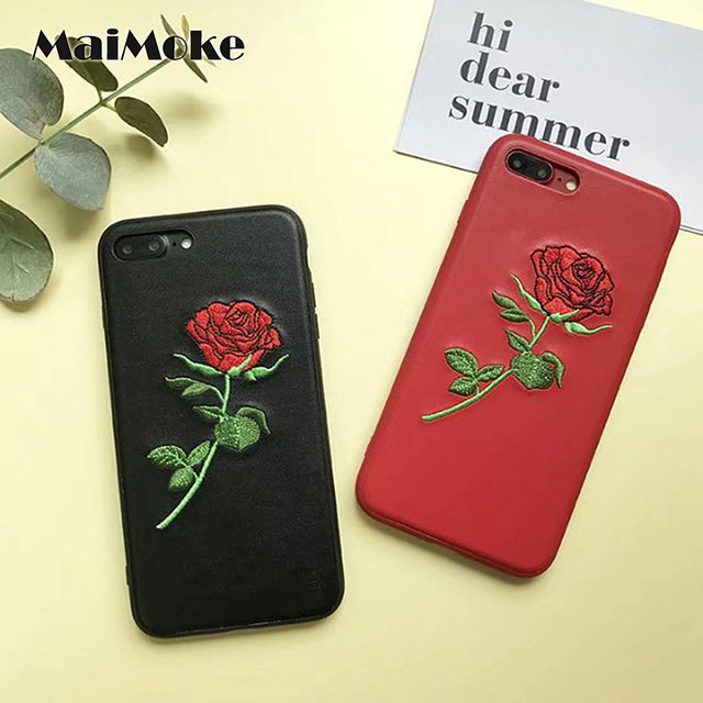 the latest f740d 718b6 US $4.98 |New Embroidered Case For iphone 7 Rose Flower Red For iphone 7  Plus Case Black Leather Back Mobile Phone Cover-in Half-wrapped Case from  ...