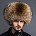 Star Fur Genuine Silver Fox Fur Hats Men Real Raccoon Fur Ear Cap Lei Feng Cap for Russian Men Bomber Hats with Leather