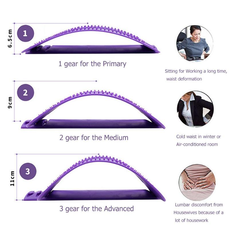 1pc Back Stretch Equipment Massager Massageador Magic Stretcher Fitness Lumbar Support Relaxation Spine Pain Relief random color