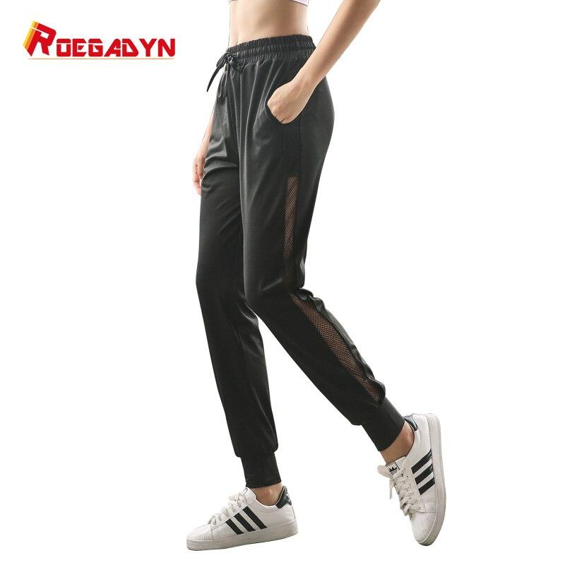 Roegadyn Schwarz Laufsport Hosen Hohe Taille Frauen Athletisch Hosen Yoga Sport Leggings Hosen Spezieller Sommer Sale