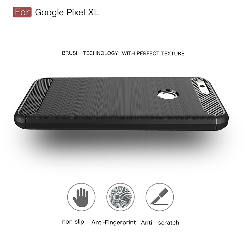 GerTong Luxury Carbon Fiber Texture Phone Case for Google Pixel XL Soft TPU Protective Shell for Google Pixel Mobile Phone Bag