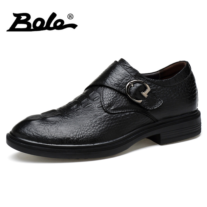BOLE Large Size 35-48 Genuine Leather Shoes Point Toe Fashion Men Dress Leather Shoes Height Increasing Men Casual Shoes Slip On chilenxas autumn winter large size 35 45 leather men casual shoes lace up breathable lovers height increasing fashion waterproof