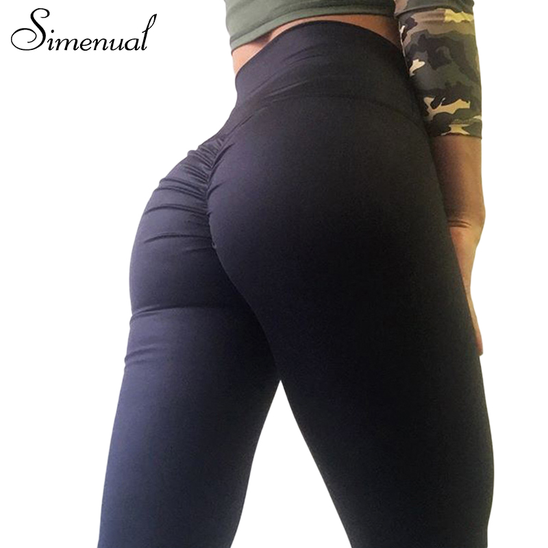 Simenual Push up a vita alta leggings donne fitness vestiti 2018 sottile increspato bodybuilding pantaloni athleisure delle donne legging femminile
