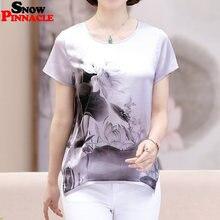 6de0d1d2228bbc ŚNIEG PINNACLE Kobiety bluzka koszula moda krótki rękaw kobiet O-neck  szyfonowa bluzka damska lato naśladować silk bluzki XL-5XL