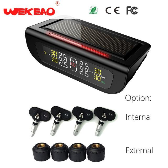 Wekeao Solar Power Auto Security Systems Monitor Car Tyre Pressure Monitoring System Digital LCD Display ABS+Solar Panels