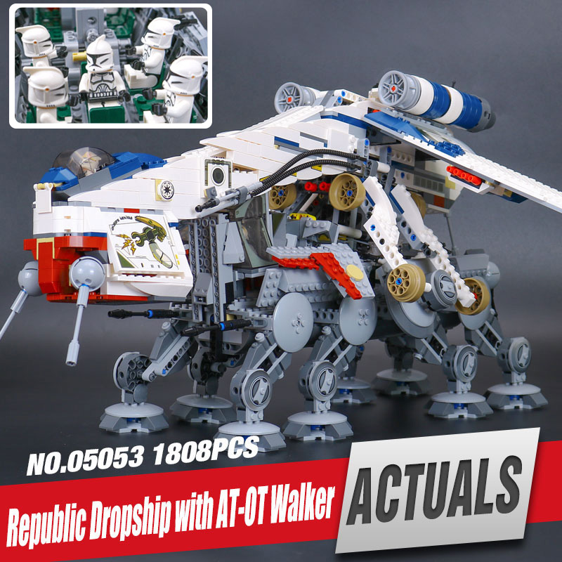 DHL Lepin 05053 Star Series War 1788Pcs Genuine The Republic Toys Dropship Set Building Blocks Bricks Children Toy legoing 10195 lepin 05053 1788pcs star series genuine