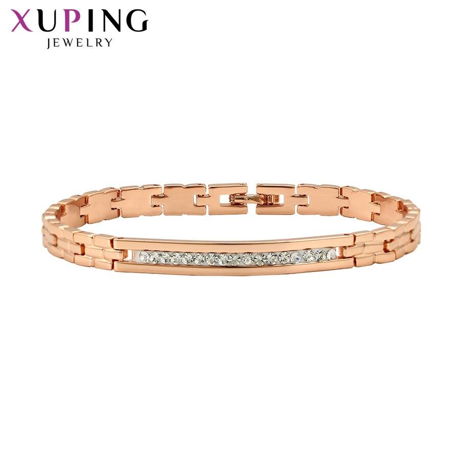 100% QualitäT Xuping Romantische Rose Gold-farbe Überzogen Armbänder Für Frauen Vintage Mode Schmuck Weihnachten Geschenke S102.6-71533 Novel Design; In
