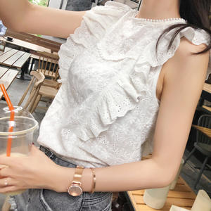 Shoulder Lace White Ruffle Blouses Women Summer Tops
