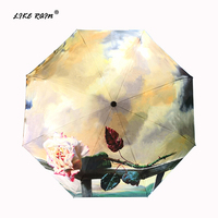Как дождь китайский Книги по искусству Роза зонтик дождь Для женщин высокое качество складной зонт женский черное покрытие Anti UV зонтики YHS05
