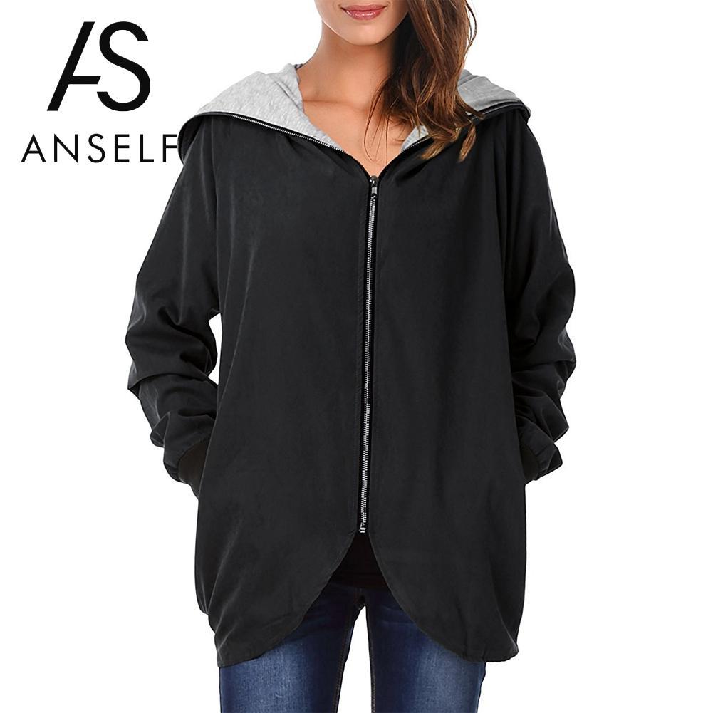 c4412f064cbb7 Women Autumn Winter Hoodies Zip Up Long Sleeve Coat Plus Size 3XL 4XL 5XL Jacket  Hooded Coat Oversized Loose Cardigan Parka Lady