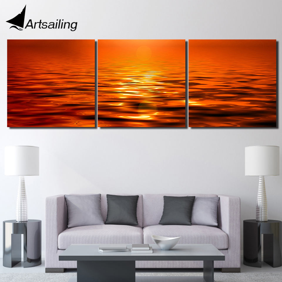 Aliexpress Com Buy Free Shipping 3 Piece Wall Decor: Aliexpress.com : Buy 3 Piece Printed Landscape Sunset Sea