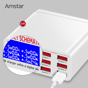 Image 4 - Amstar 6 porte 40W caricatore USB ricarica rapida 3.0 Dock Station di ricarica USB veloce con Display a LED per iPhone XS Samsung S9 Xiaomi