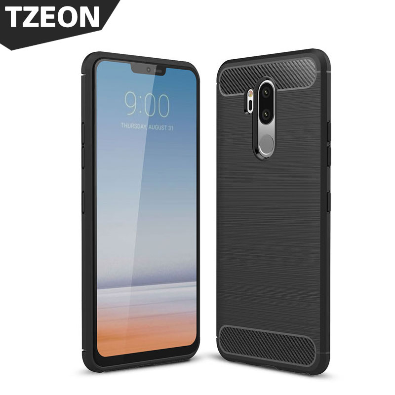Soft Carbon Fiber Drawing Case for LG G7 Thin Q Phone Back C