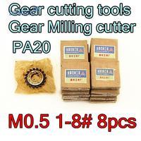 M0.5 modulus PA20 graden NO.1-NO.8 8 stks/set HSS Versnelling frees Gear snijgereedschap Gratis verzending