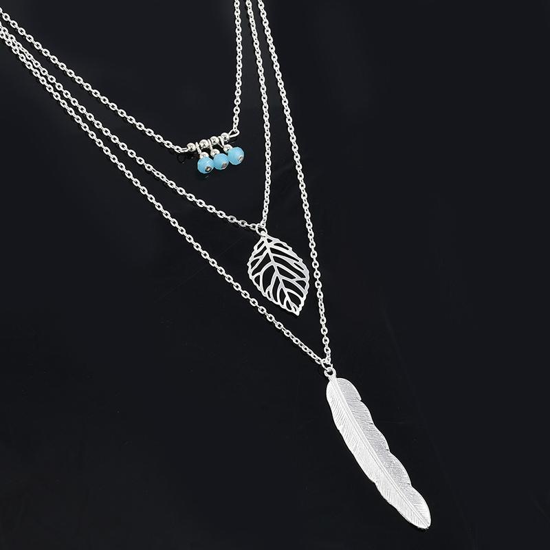 Simple-Multilayer-Necklace-Leaf-Beads-Feather-Pendant-Choker-3-Layer-Chain-Necklace-CX17 (5)