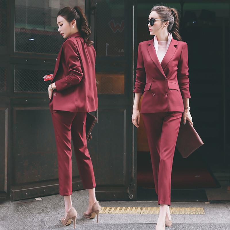 Fashion 2 Pieces Sets Double Breasted Jacket & Pencil Pant Suits Women