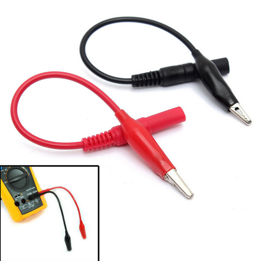 2PCS Insulated Alligator Clamp 2mm Banana Plug Adapter Test Probe Black+Red/_s4