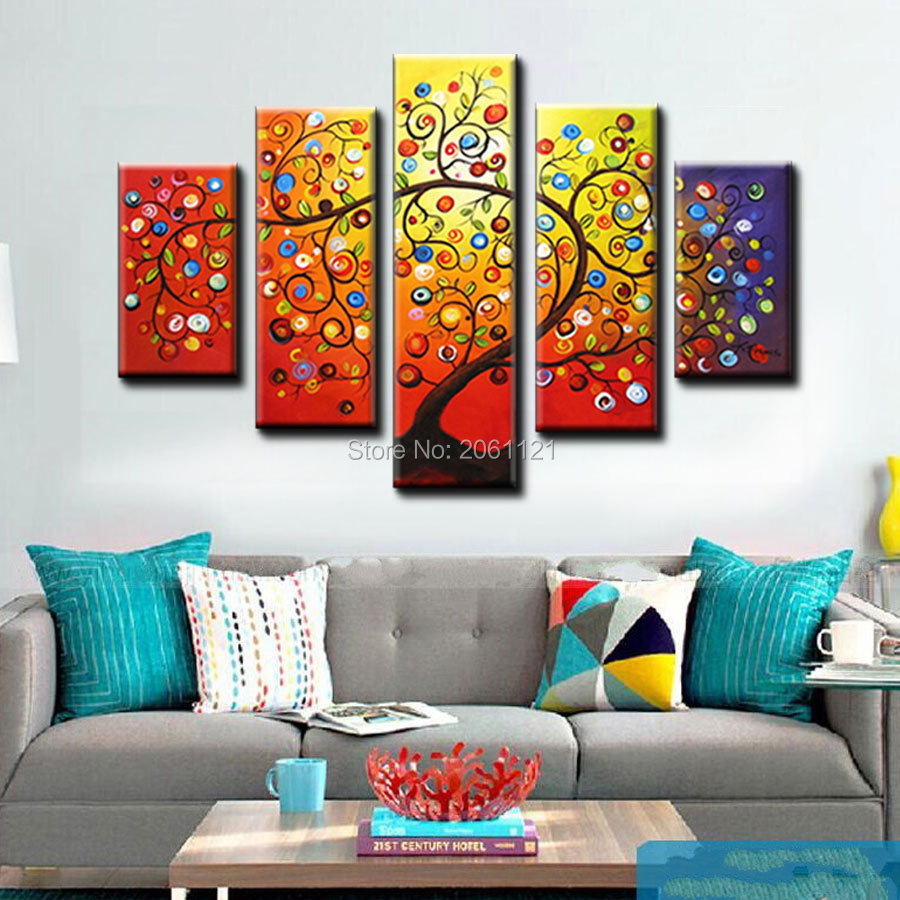 Online coloring room - Colorful Decorative Picture Blight Tree 5 Piece Wall Art Painting Picture Hand Painted Canvas Picture Living