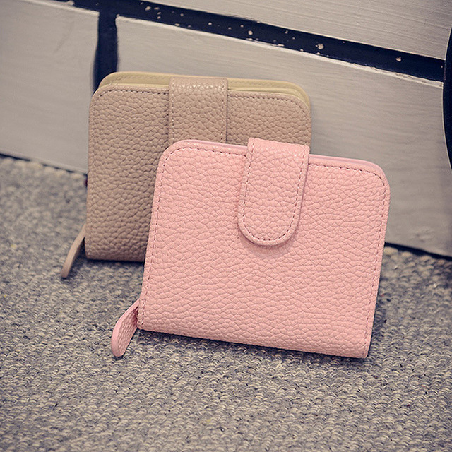 Fashion Women Black Leather Wallet Coin Purse Money Bag Small Wallet and Purse Mini Zipper Hasp Short Lady Purse Crad Holder
