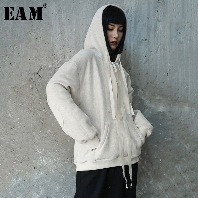 EAM 2019 New Spring Winter Hooded Long Sleeve Beige Loose Big Size Ribbon Split Joint