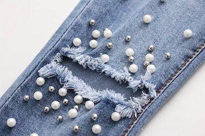 Women Fashion Destroyed Ripped Blue Jeans pearled Slim Denim Pants Boyfriend Jeans 2017 New Woman Trousers 2