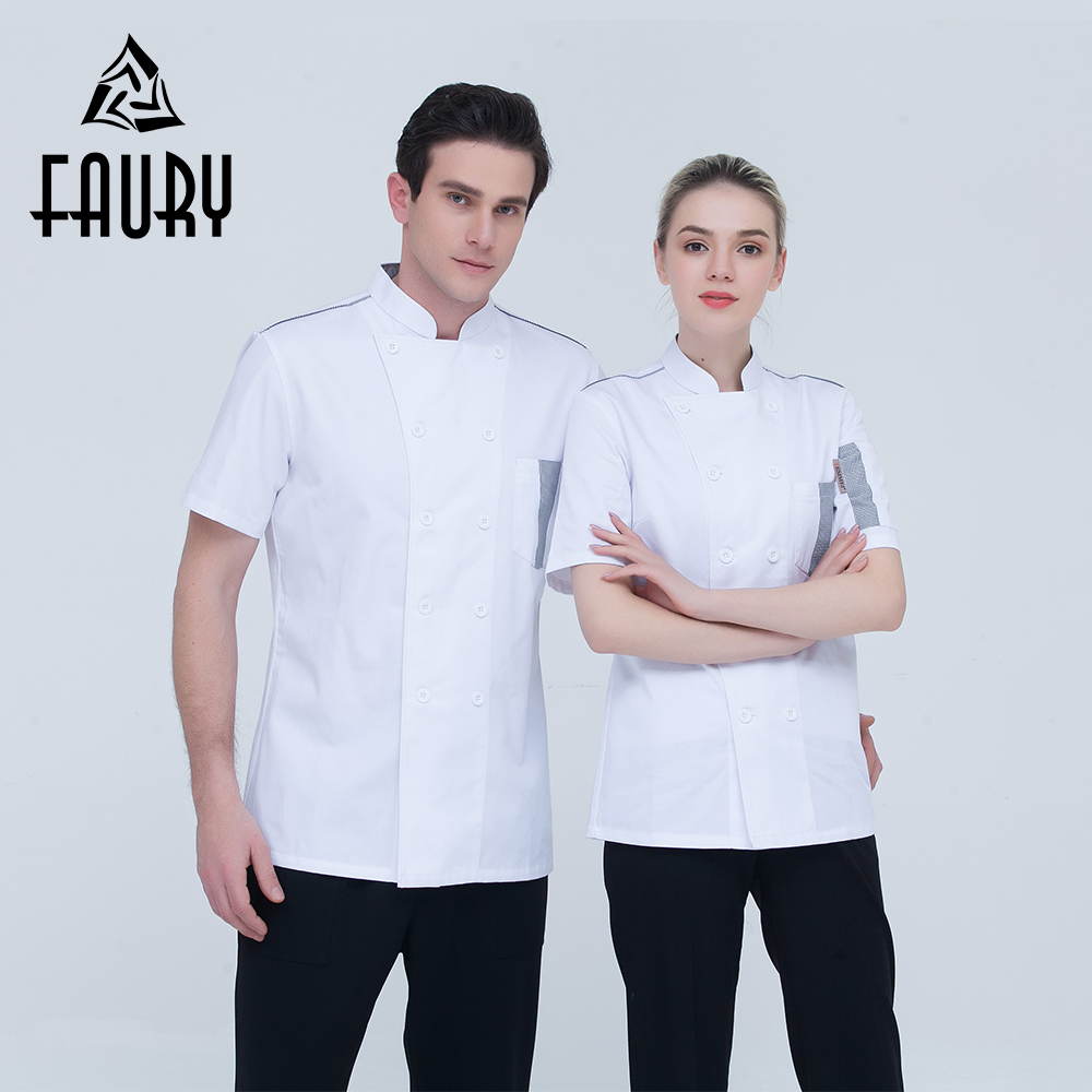 High Quality Unisex White Stand Collar Double Brestaed Plaid Stitching Short Sleeve Restaurant Chef Jacket Bakery Work Uniforms