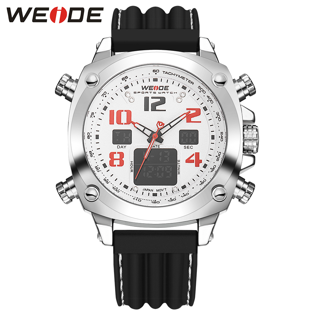 WEIDE Analog Digital LCD Display White Dial Rubber Band Date Day Chronograph Stainless Steel Buckle Sport Quartz Men Wrist Watch weide brand irregular man sport watches water resistance quartz analog digital display stainless steel running watches for men