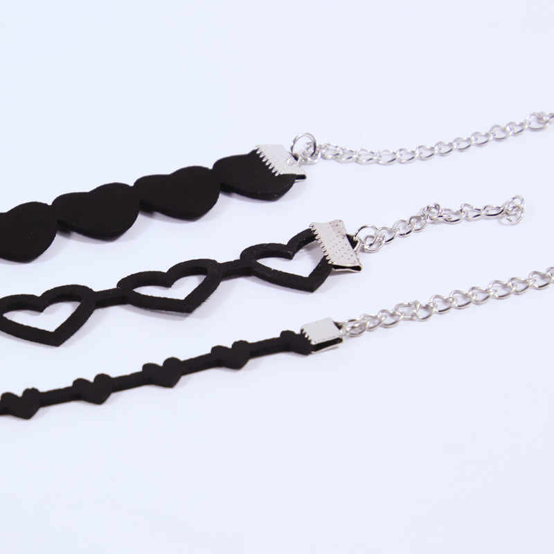 Fashion jewelry simple leather heart tube choker necklace gift for women girl