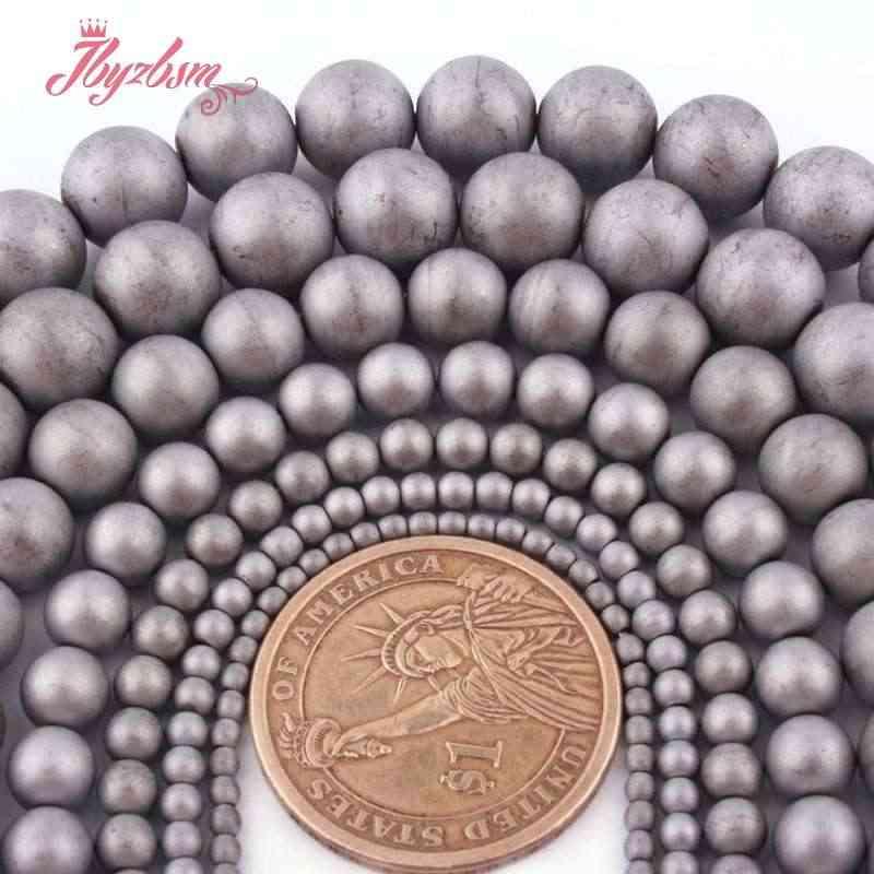 """2,3, 4,6, 8,10 milímetros Geada Matte Rodada Cinza Hematita Pedra Natural Beads Para DIY Colar Pulseiras Fazer Jóias 15 """"Frete Grátis"""