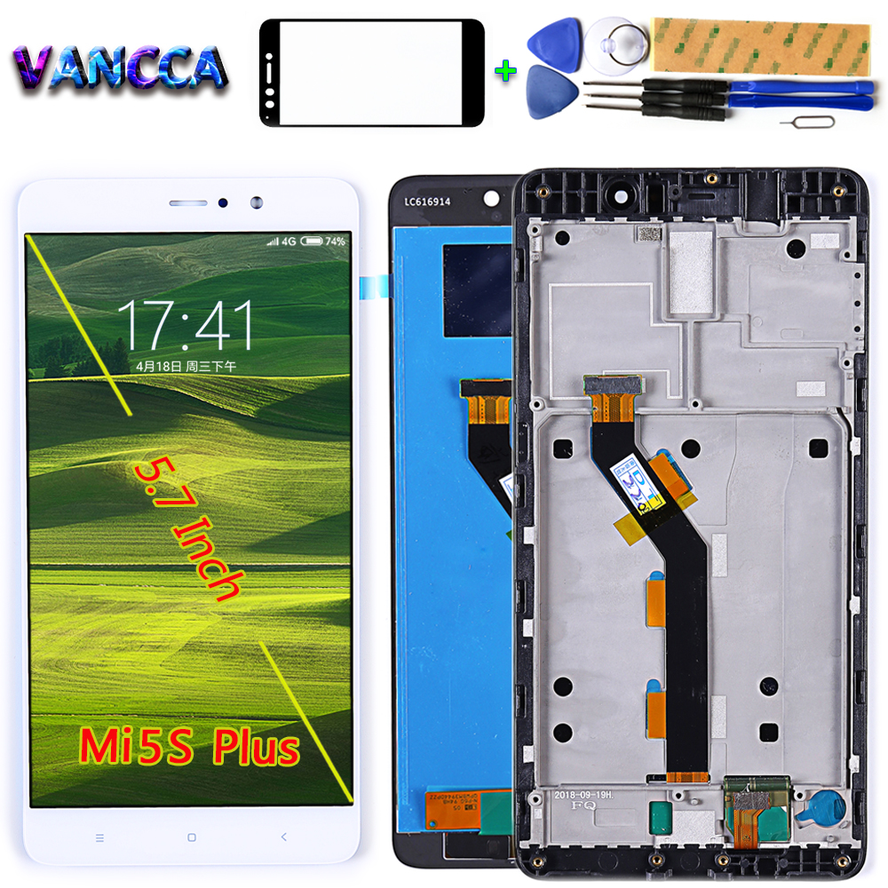 Vancca 5.7 Inch LCD Display For Xiaomi MI5S Plus Touch Screen Digitizer Assembly Button Light Frame With Free Glass Film Tools