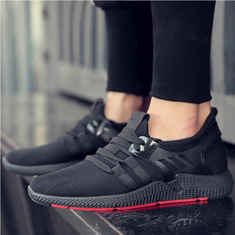 Leisure Shoes Hot Sale All Black Shoes Comfortable Men Walking Sneakers Men Breathable Men's vulcanized shoes For Outdoor US-74(China)