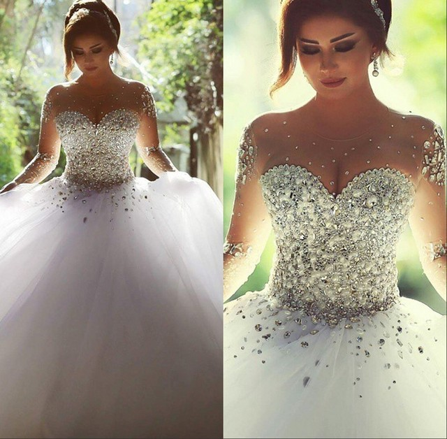 Crystal Design 2016 Wedding Dresses: Luxury Pearls Shiny Crystals Beaded Long Sleeve Ball Gown