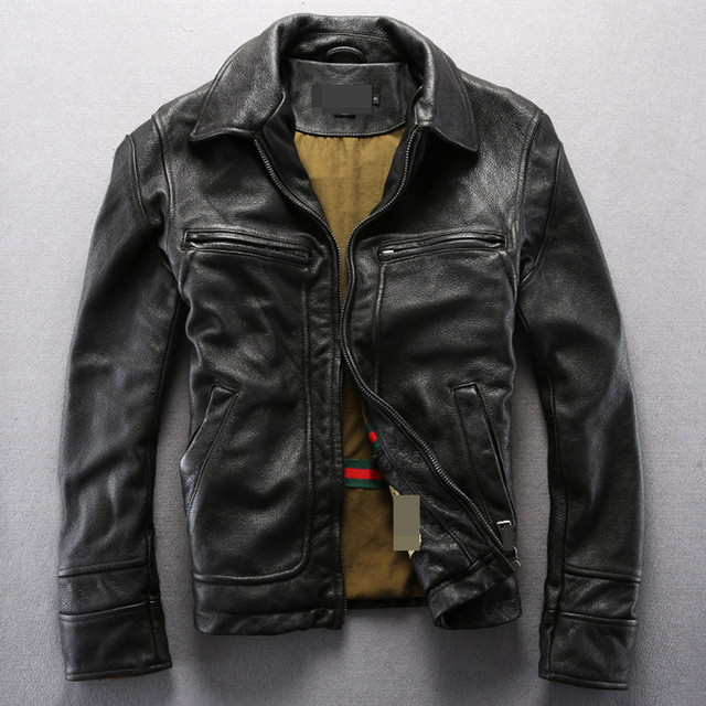 Vintage Genuine Leather Jacket Men Black Leather Motorcycle Jacket